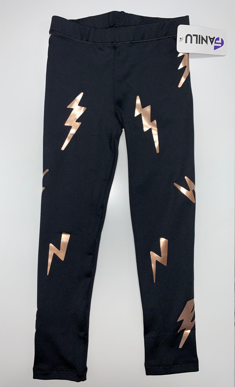 Bolts Rose Gold Leggings-Legging-Fanilu