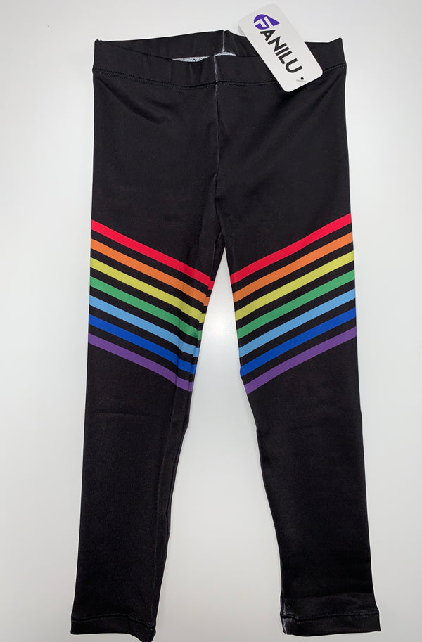 Rainbow Black Leggings-Legging-Fanilu