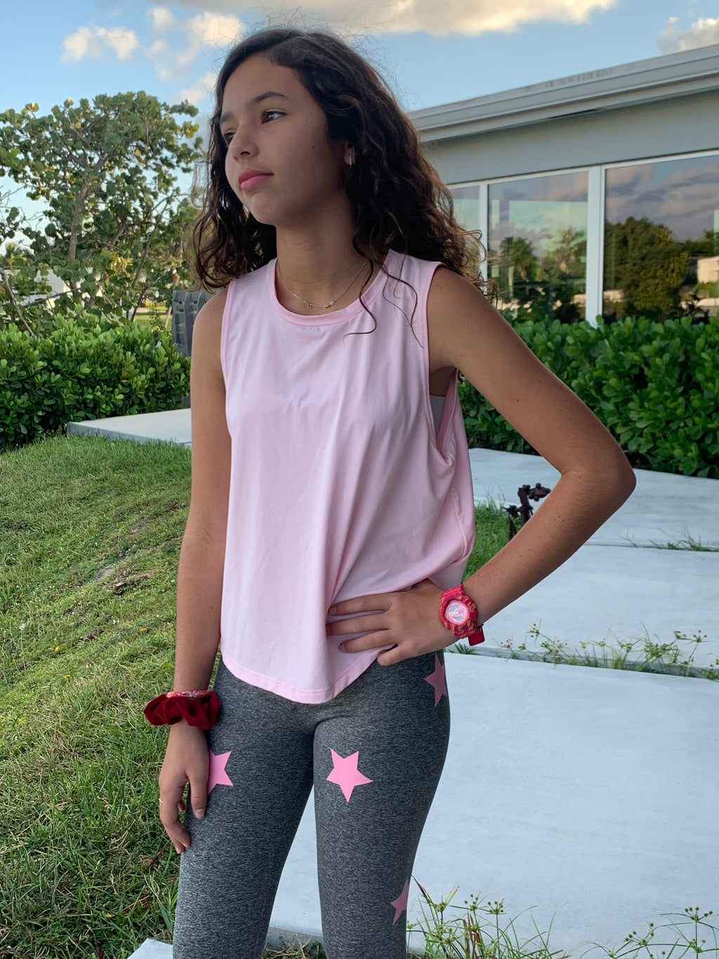 Stars Pink Grey Leggings-Legging-Fanilu