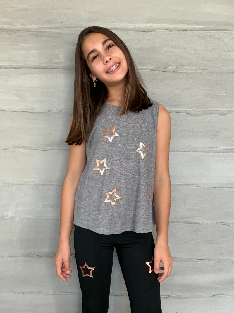 Open Stars Rose Gold Tank - Fanilu