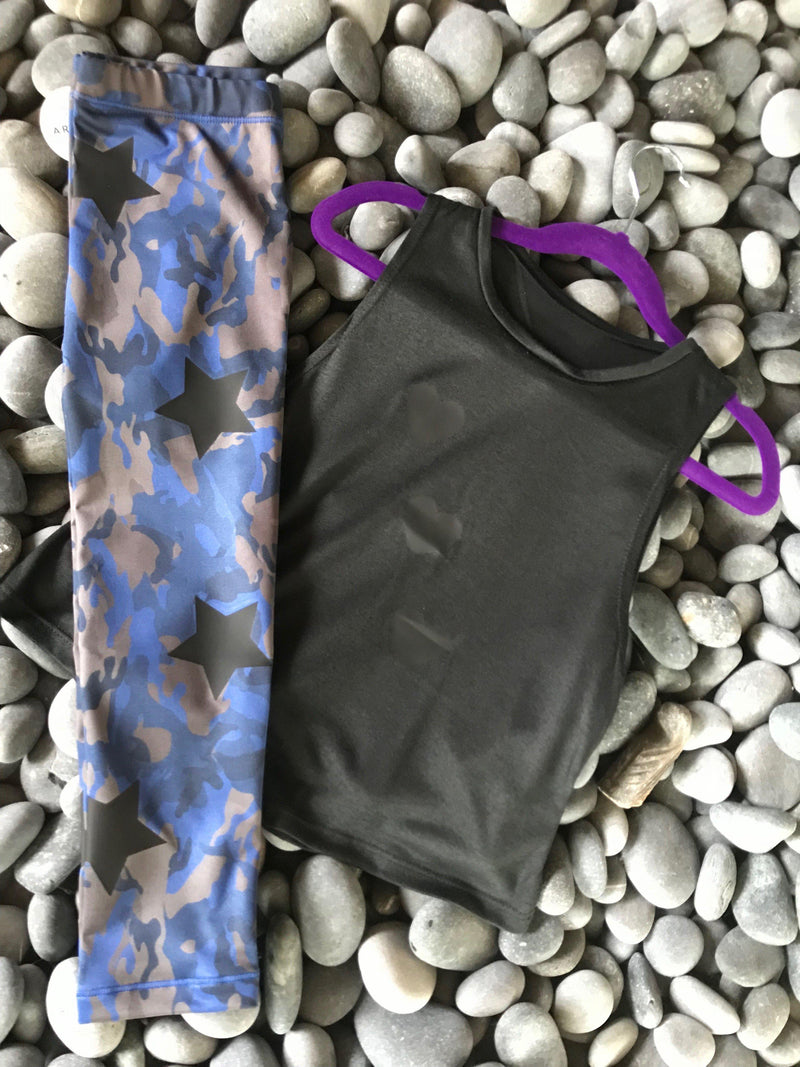 Camo Blue Leggings-Legging-Fanilu