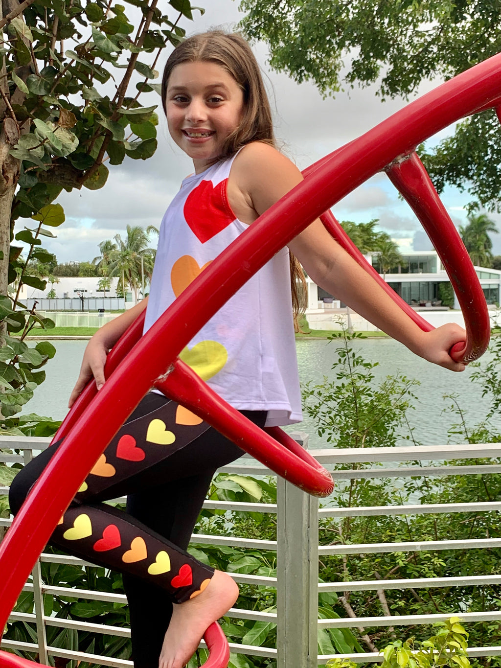 Stripe Hearts Fire Leggings-Fanilu