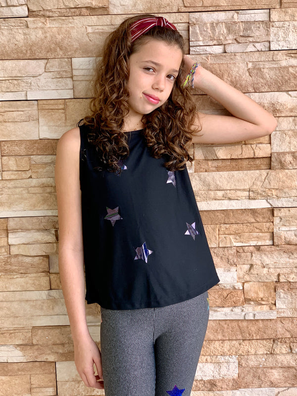 Stars Dark Multicolor Black Tank-Fanilu