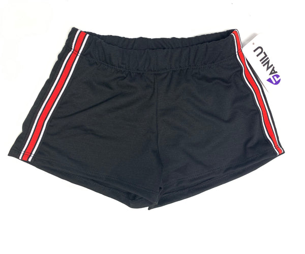 Stripe Side Shorts Black and Red-Fanilu