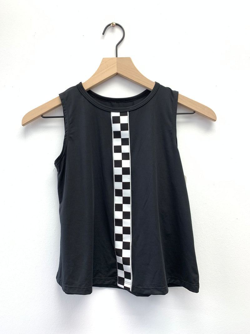 Checkers Stripe Black Tank-Tanks-Fanilu