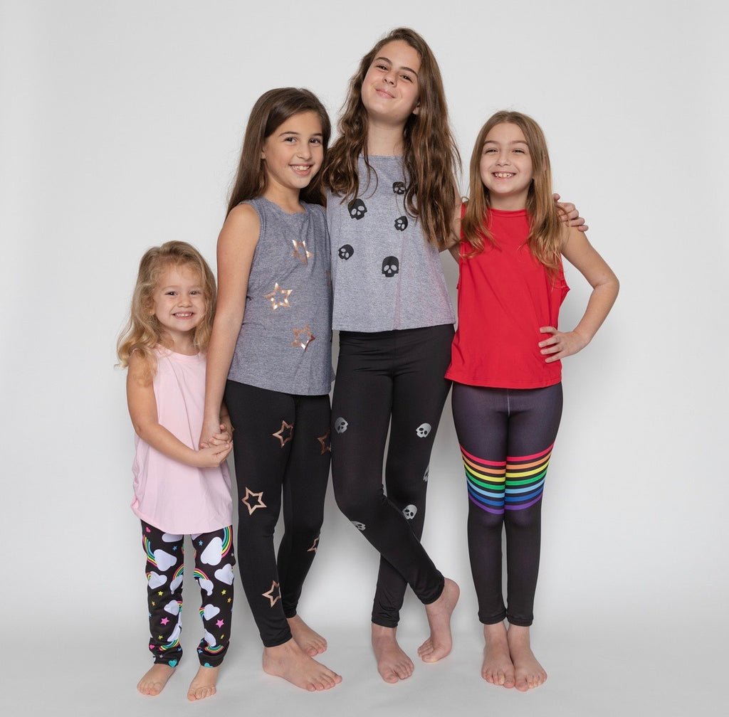 Skulls Silver Leggings - Fanilu Activewear For Kids