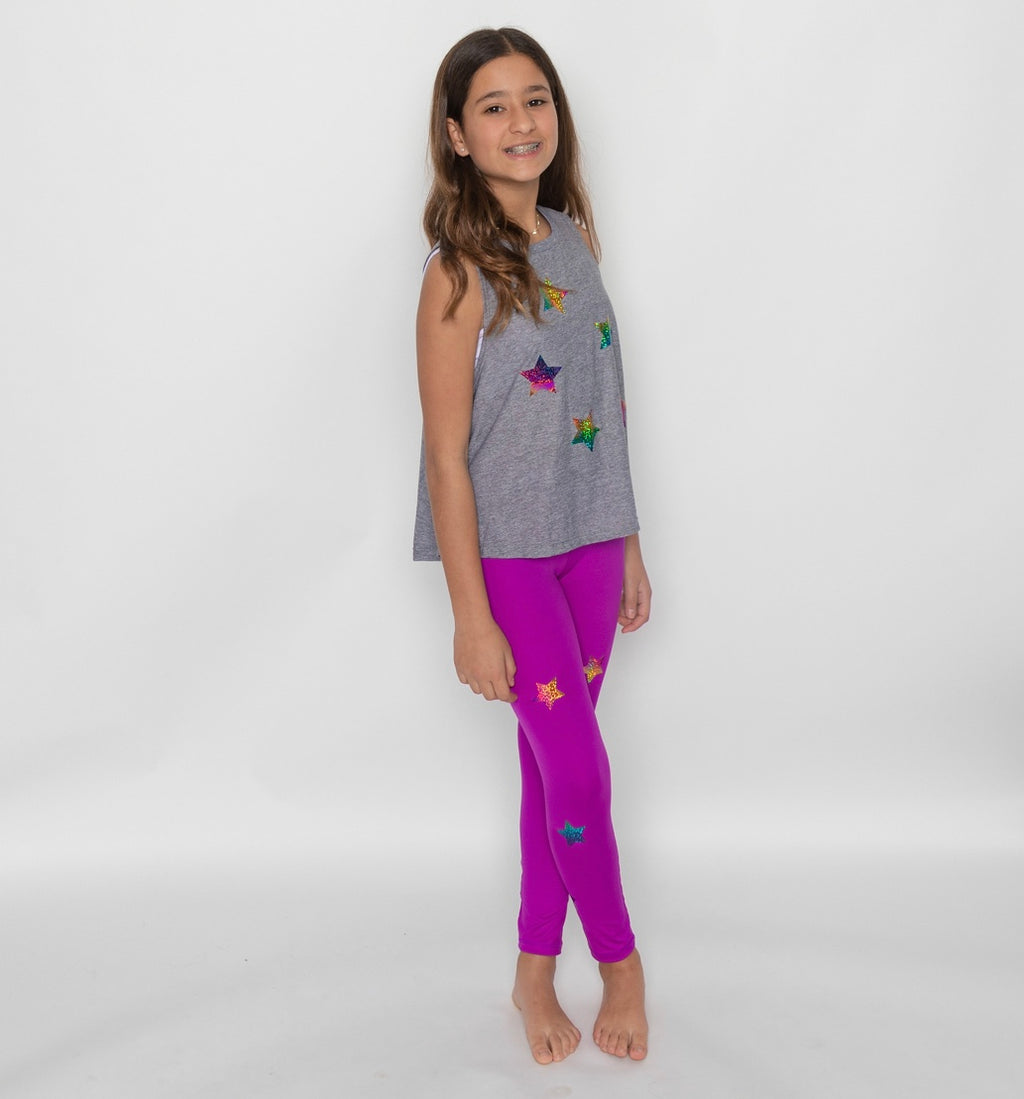 Stars Multicolor Purple Leggings-Legging-Fanilu