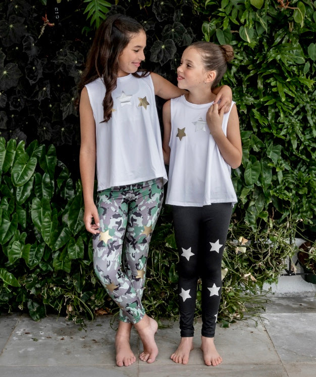 Stars Silver and Gold White Tank - Fanilu Activewear For Kids