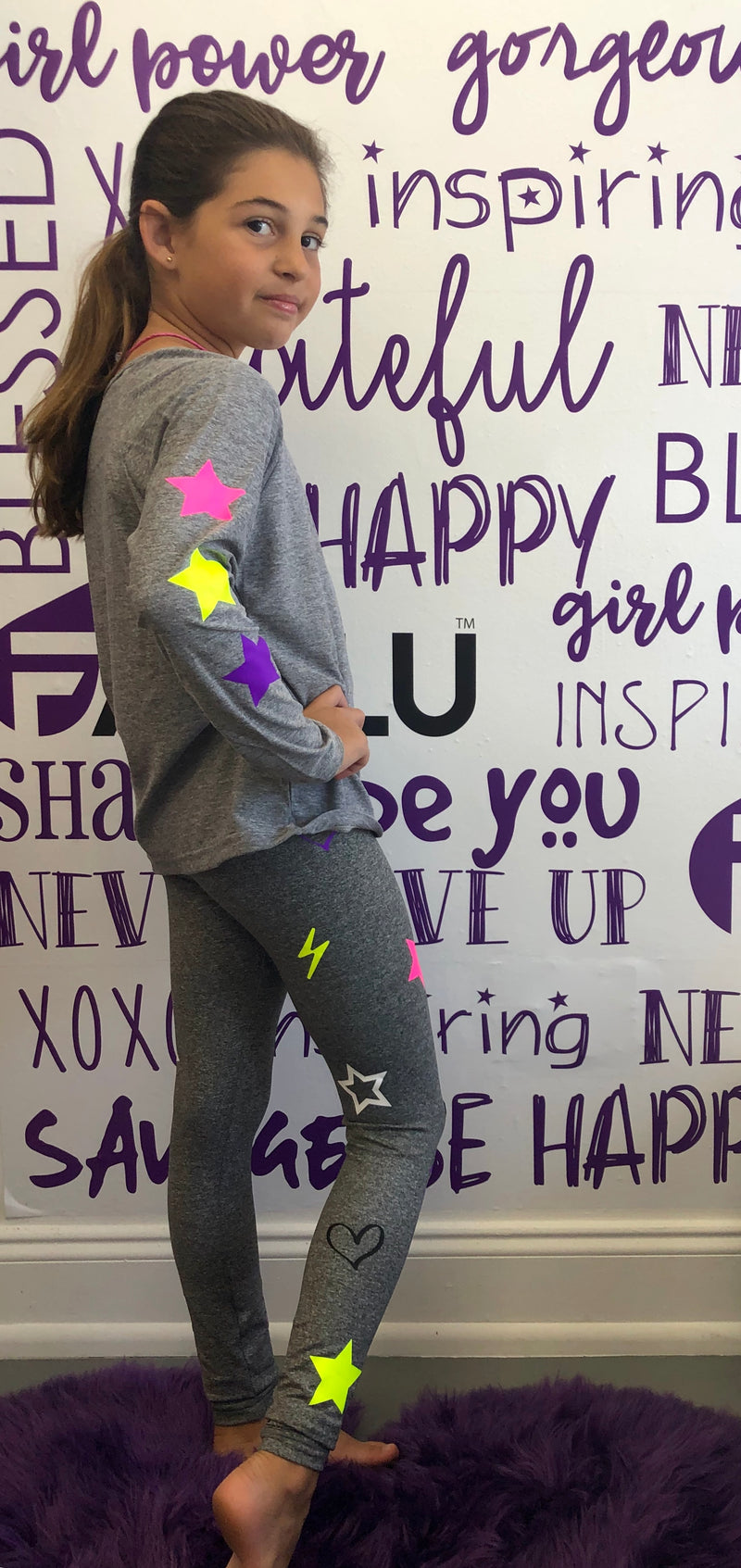 Stars Neon Long Sleeve Grey Tank-Fanilu