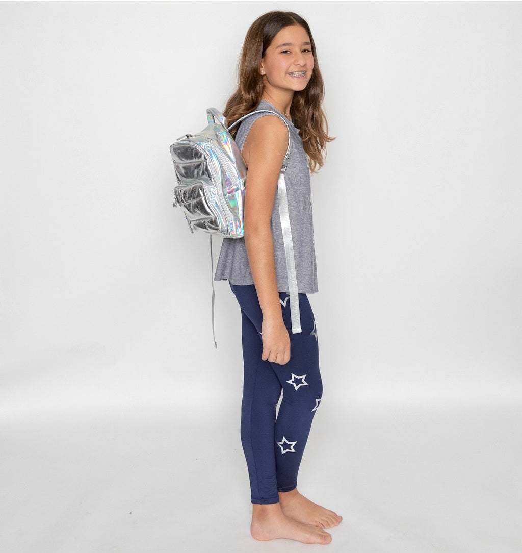 Open Stars Silver Blue Leggings-Legging-Fanilu