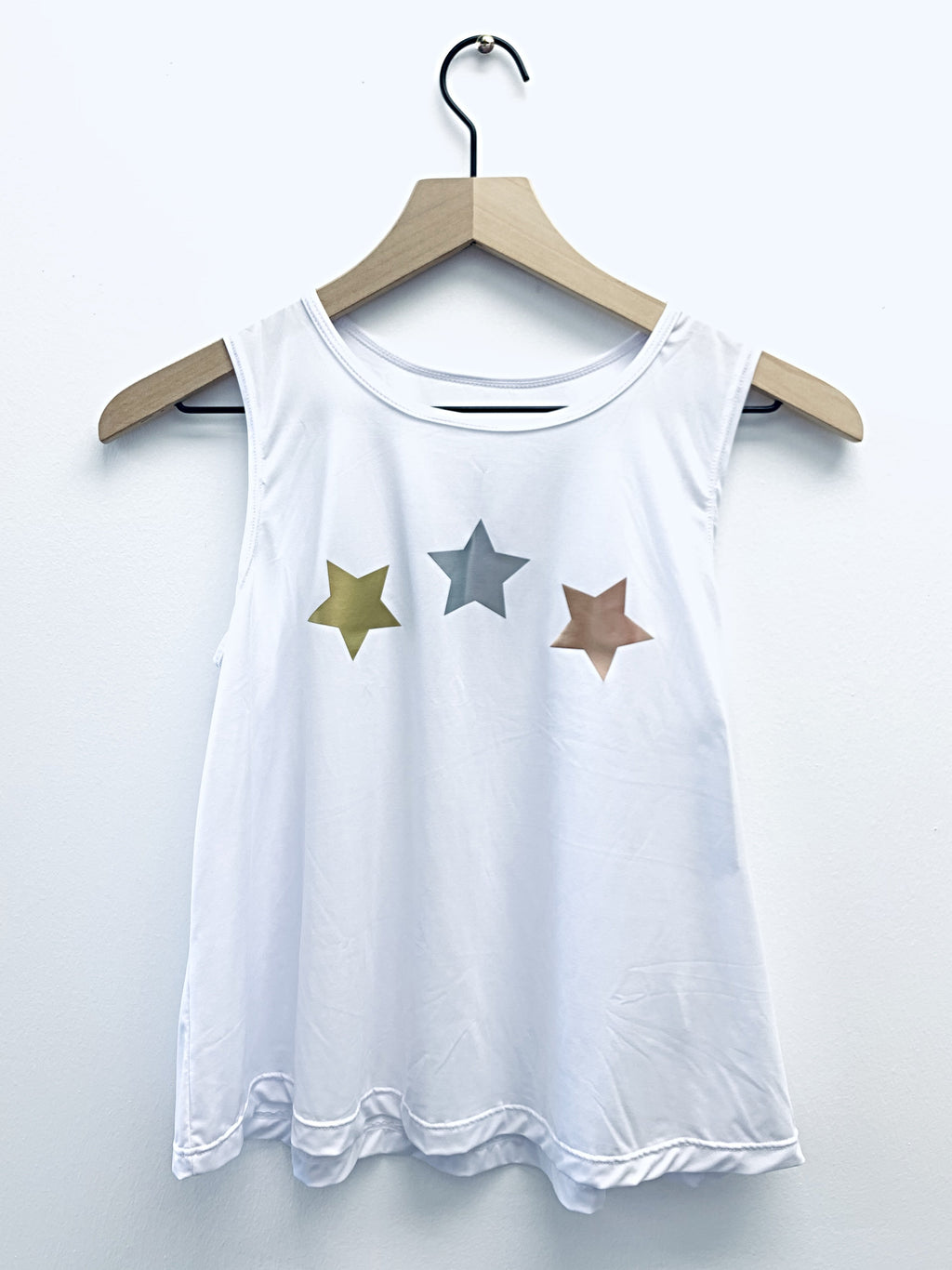 Stars Gold Silver Rose Gold White Tank