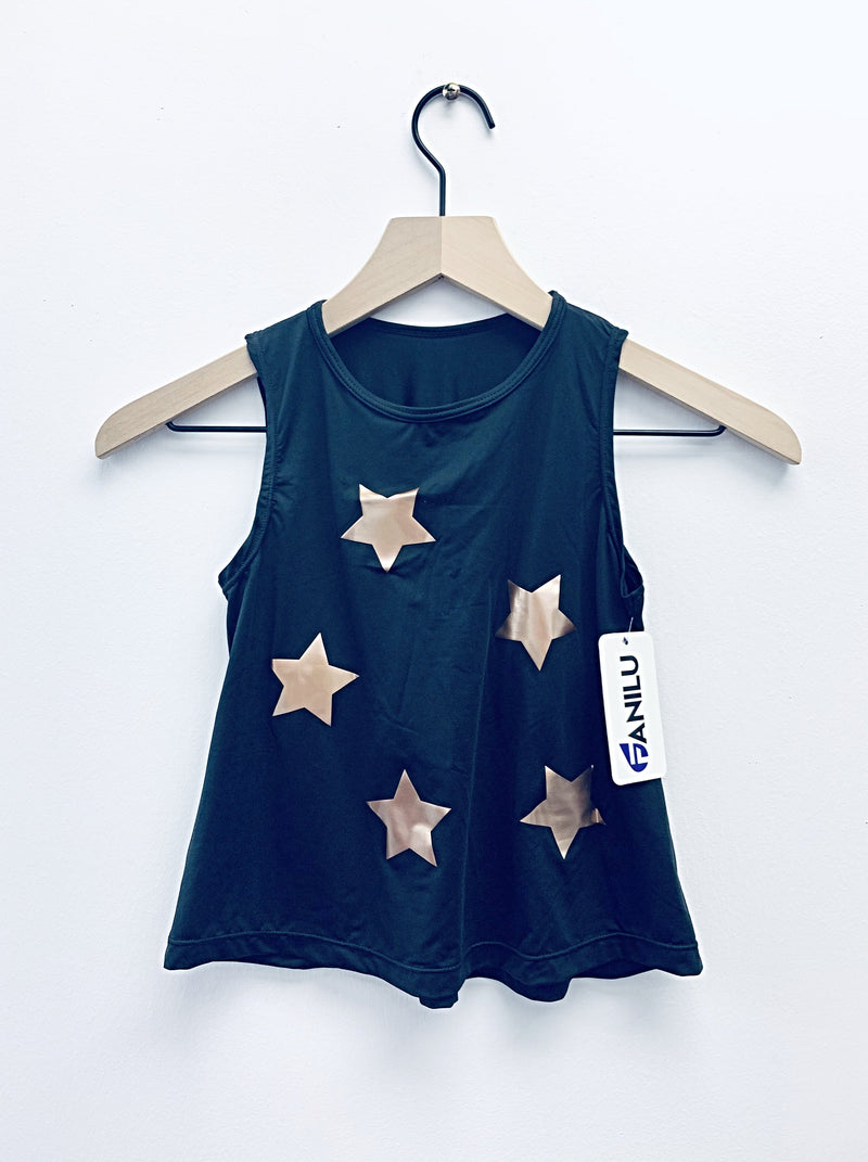 Stars Rose Gold Black Tank - Fanilu