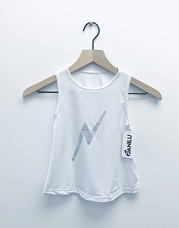 Bolt Silver White Tank-Tanks-Fanilu