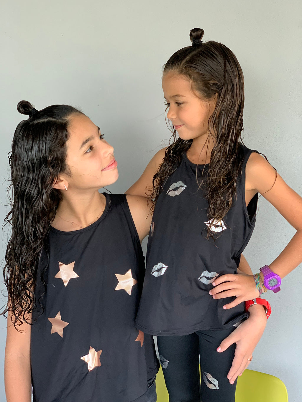 Stars Rose Gold Black Tank-Tanks-Fanilu