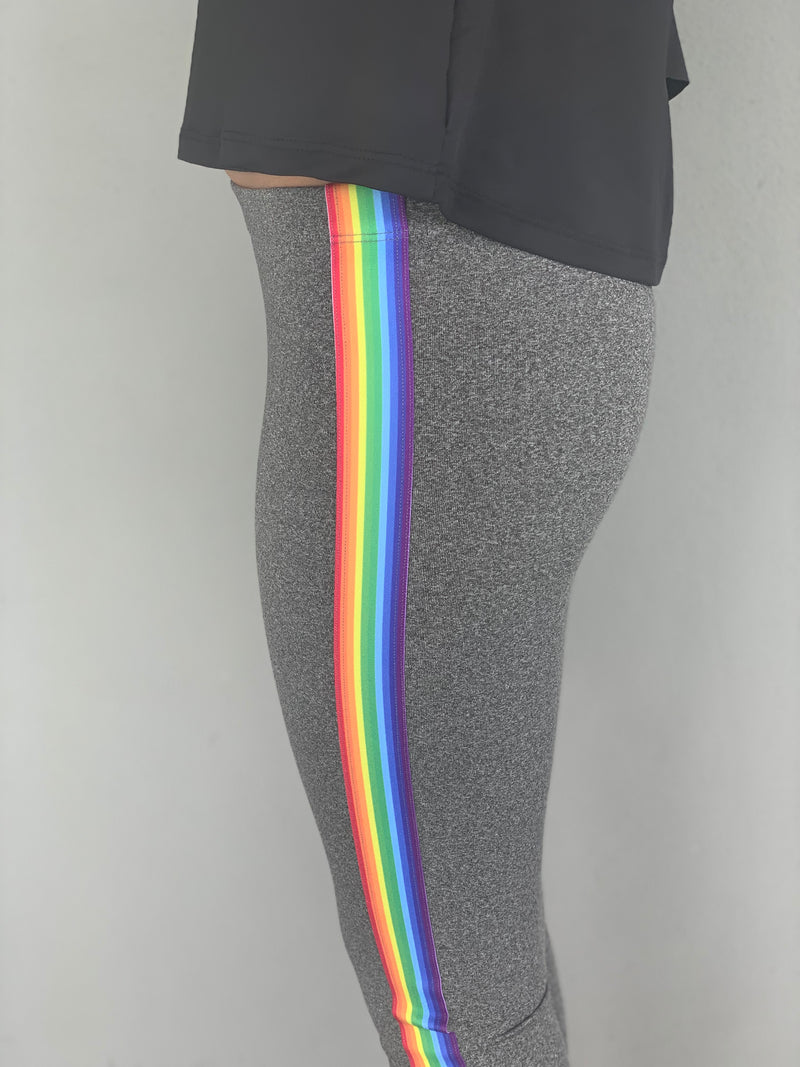 Stripe Rainbow Grey Leggings-Legging-Fanilu