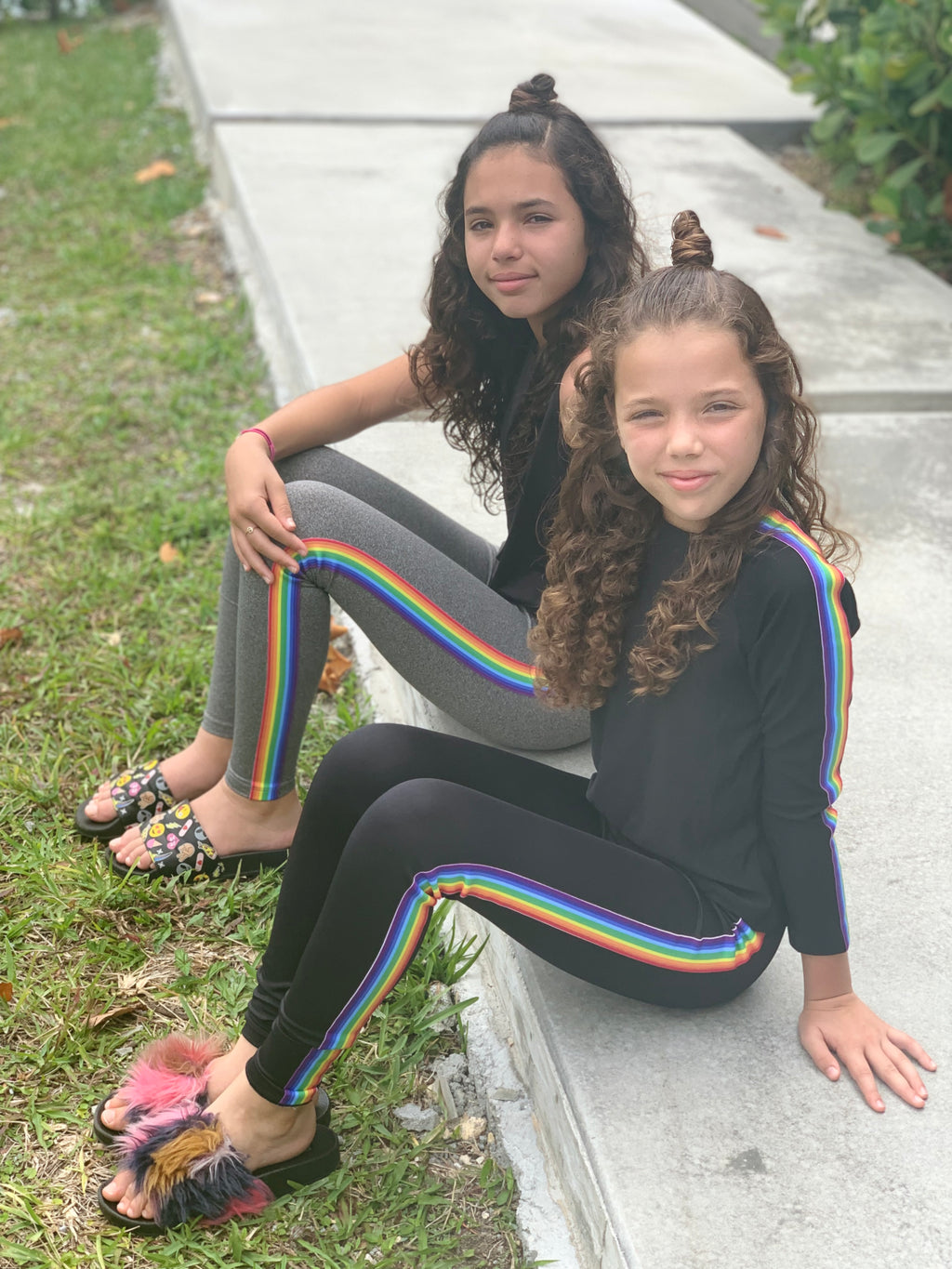 Stripe Rainbow Grey Leggings - Fanilu Activewear For Kids