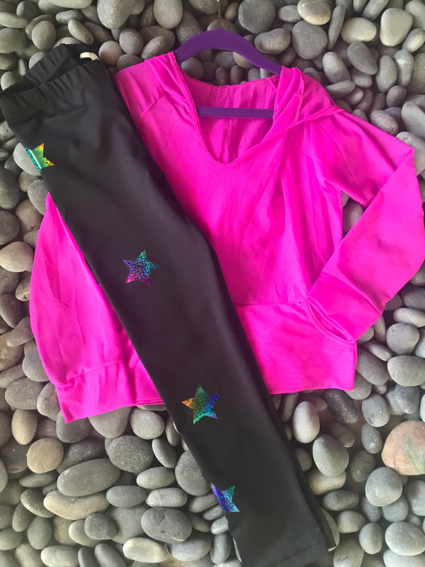 Stars Multicolor Black Leggings-Legging-Fanilu