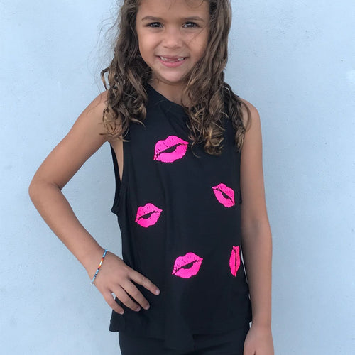 Kisses Tank- Black/Hot Pink