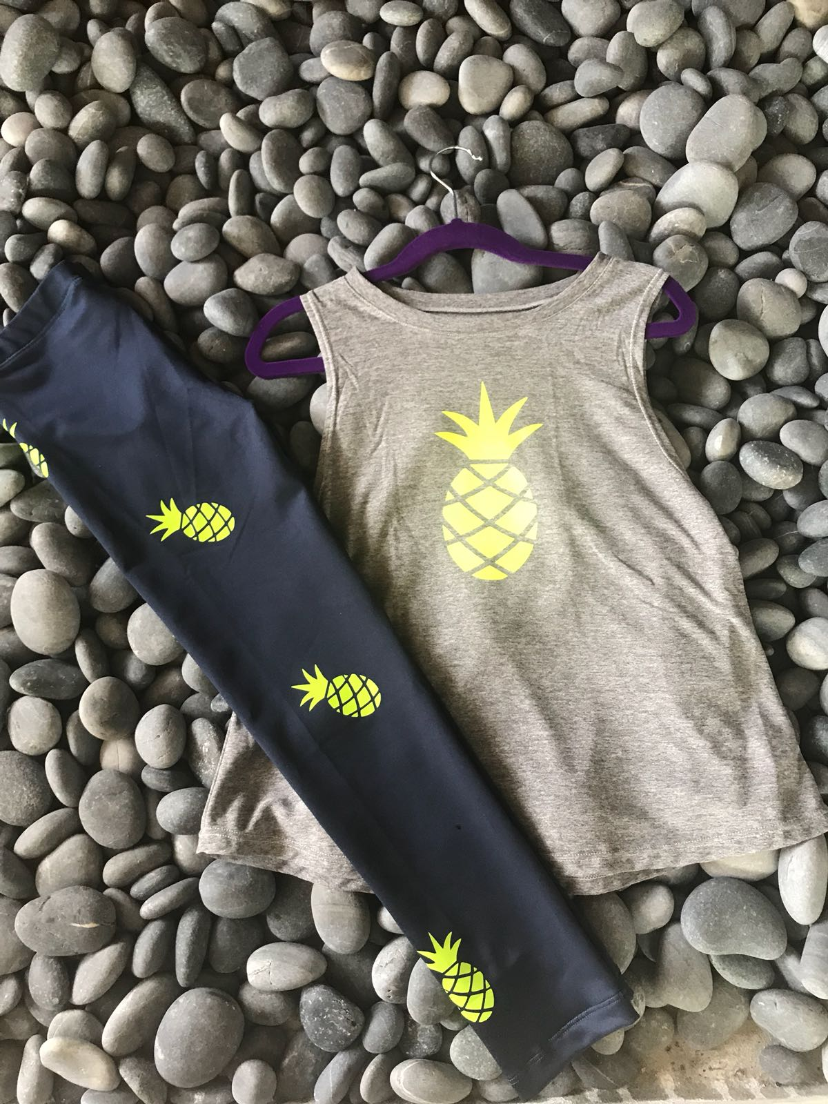 Pineapple Tank- Gray/Neon Yellow
