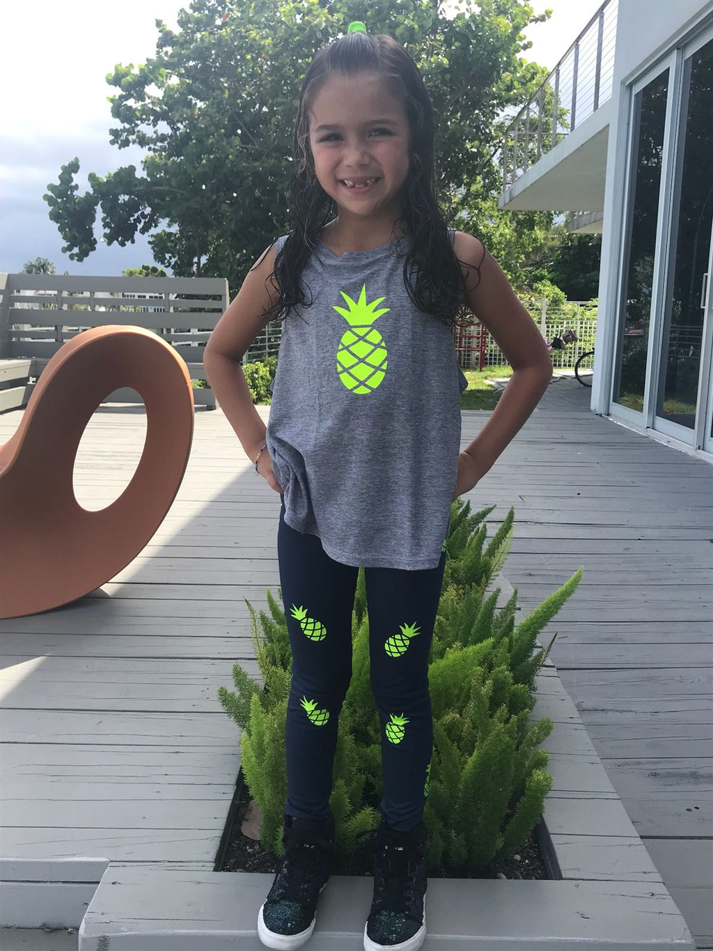 Pineapple Green Navy Leggings-Legging-Fanilu