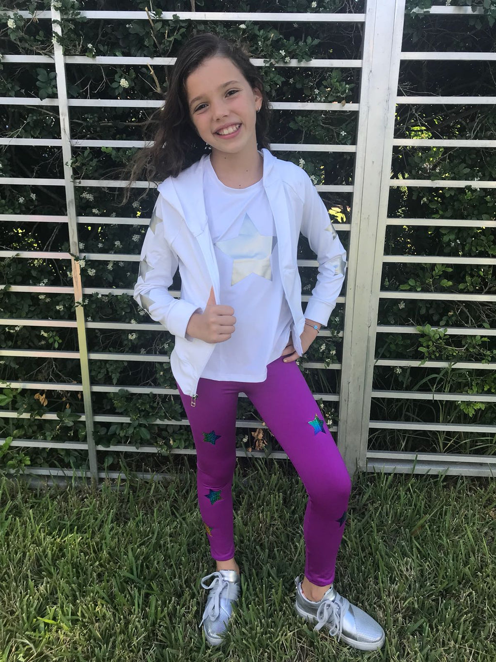 Stars Multicolor Purple Leggings - Fanilu Activewear For Kids