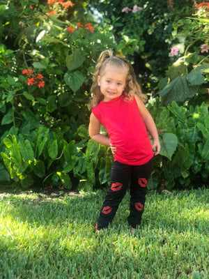 Kisses Red Leggings - Fanilu Activewear For Kids