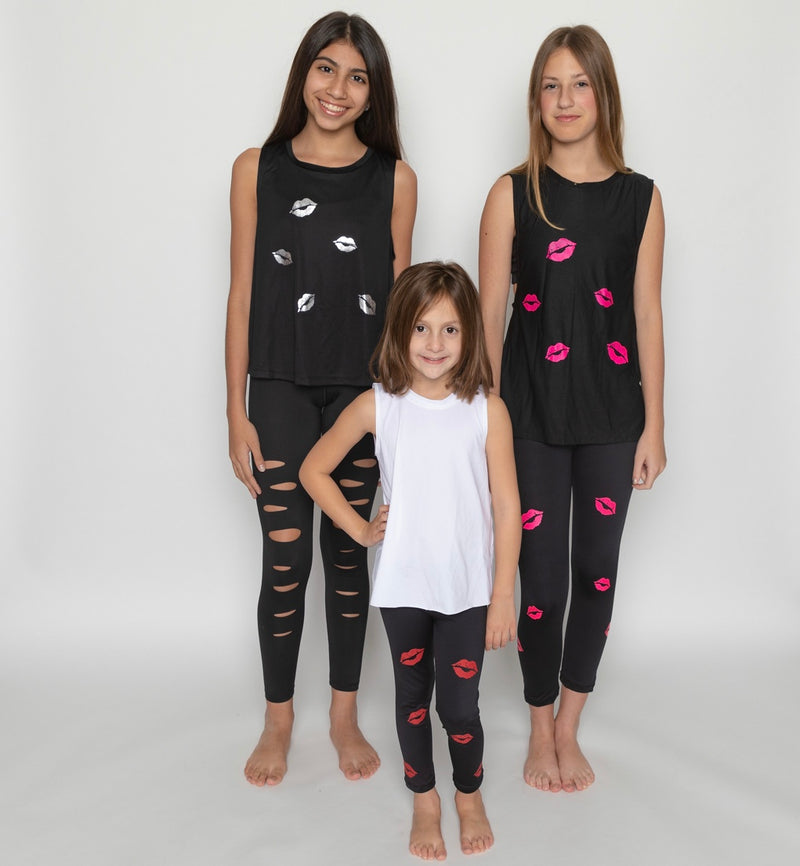 Kisses Silver Tank - Fanilu Activewear For Kids