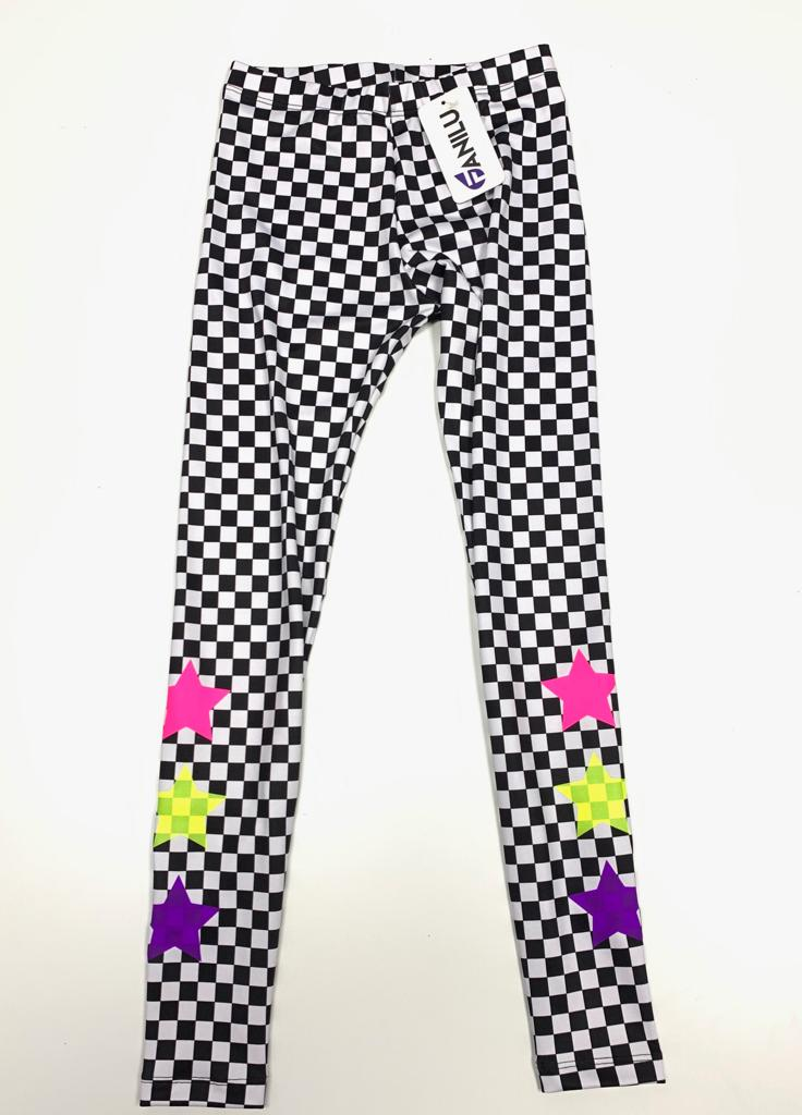 Checkers Neon Leggings - Fanilu Activewear For Kids