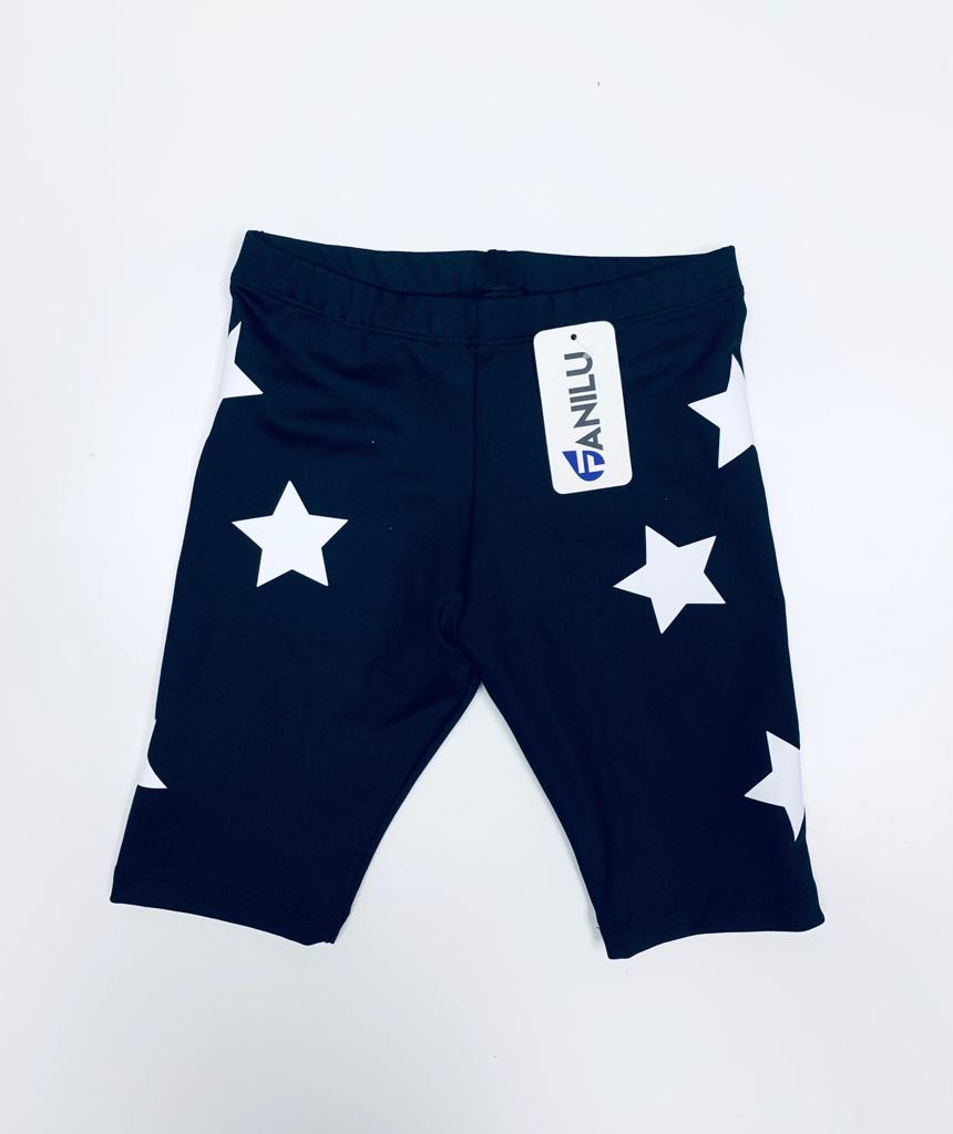 Stars White Black Shorts-Legging-Fanilu