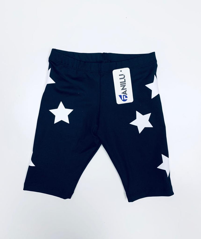 Stars White Black Shorts