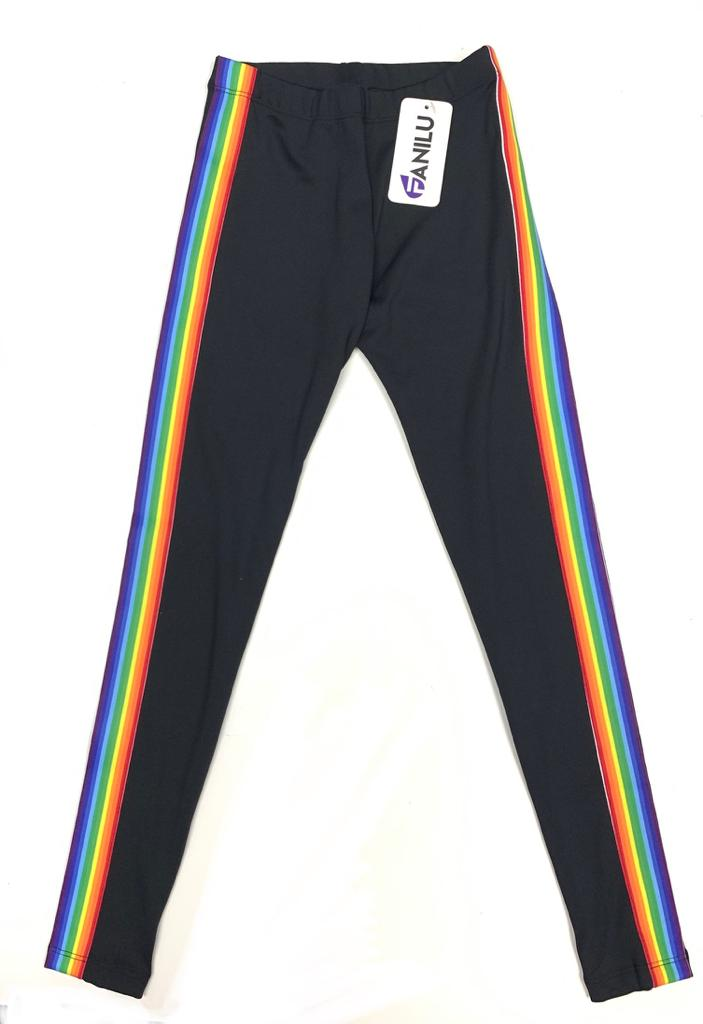 Stripe rainbow black legging