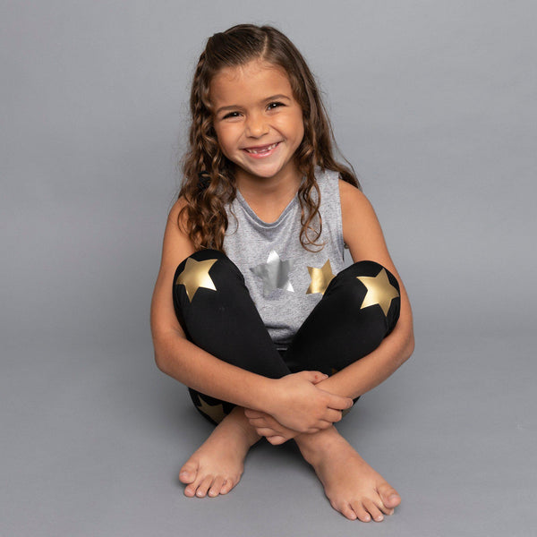 Stars Silver and Gold Gray Tank-Tanks-Fanilu