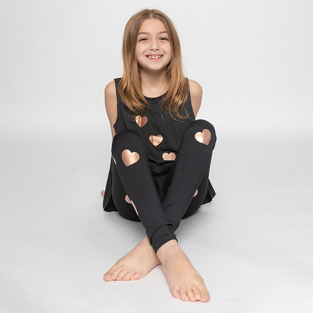 Hearts Rose Gold Tank - Fanilu Activewear For Kids