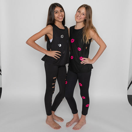 Kisses Hot Pink Black Leggings