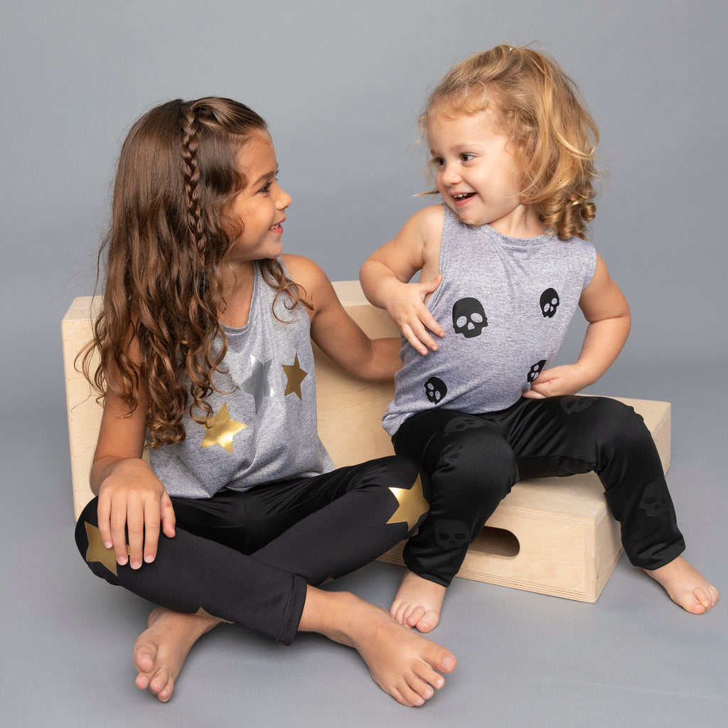 Skulls Gray Tank - Fanilu Activewear For Kids