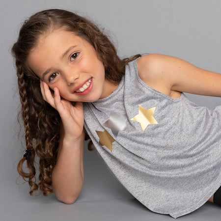 Stars Silver and Gold Gray Tank