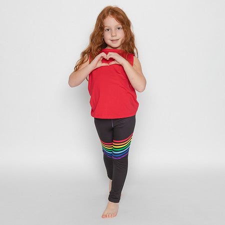 Rainbow Black Leggings - Fanilu Activewear For Kids
