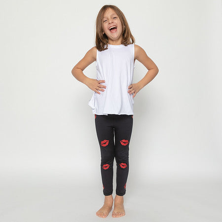 Kisses Red Leggings-Legging-Fanilu