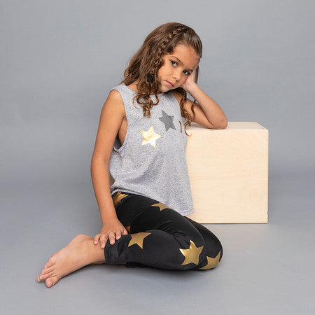 Stars Gold Leggings - Fanilu