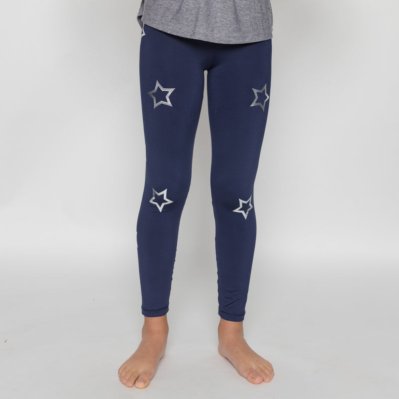 Open Stars Silver Blue Leggings - Fanilu Activewear For Kids