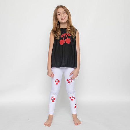 Cherries White Leggings-Legging-Fanilu