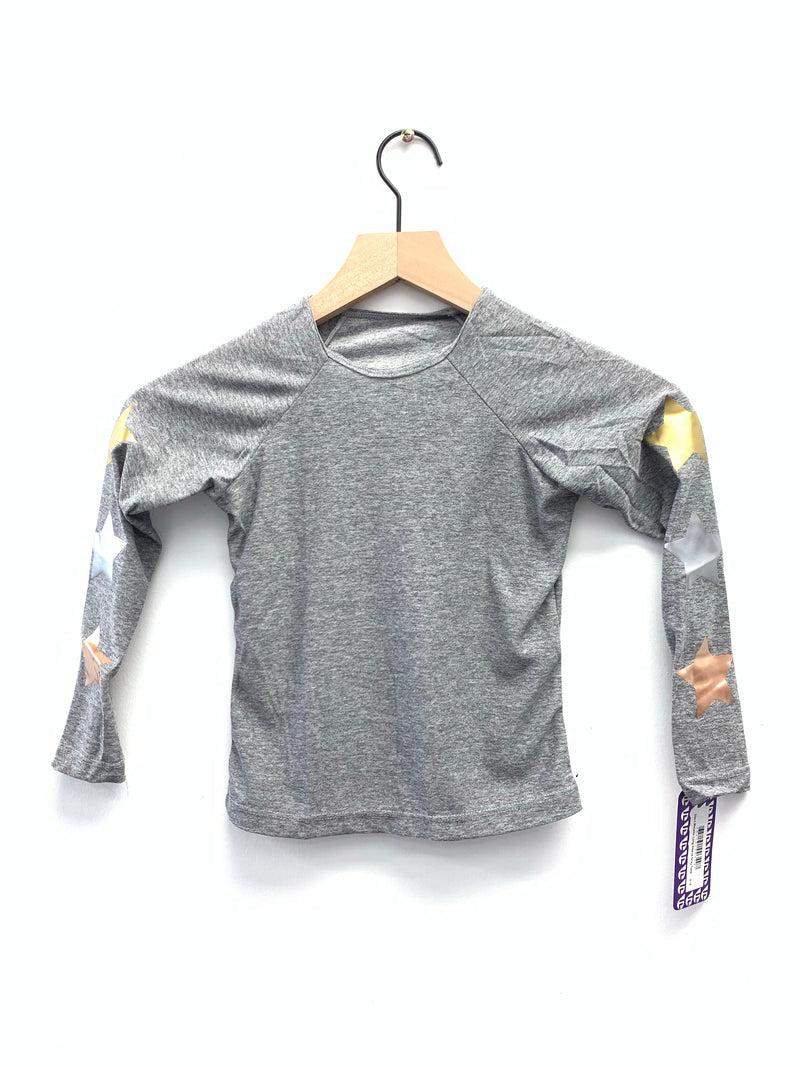 Stars Metallic Long Sleeve Grey Tank-Fanilu