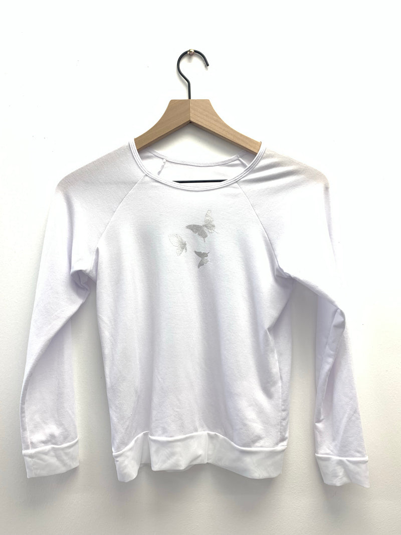 Butterflies Long Sleeve White Tank-Fanilu