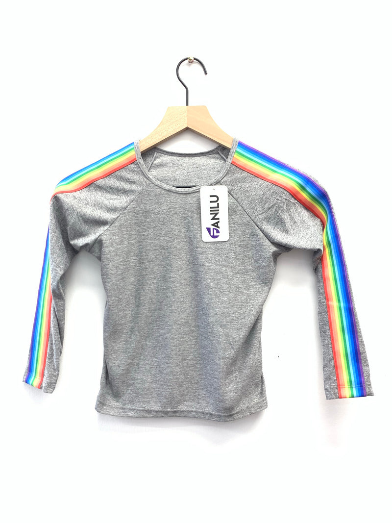 Stripe Rainbow Grey Long Sleeve Tank-Fanilu