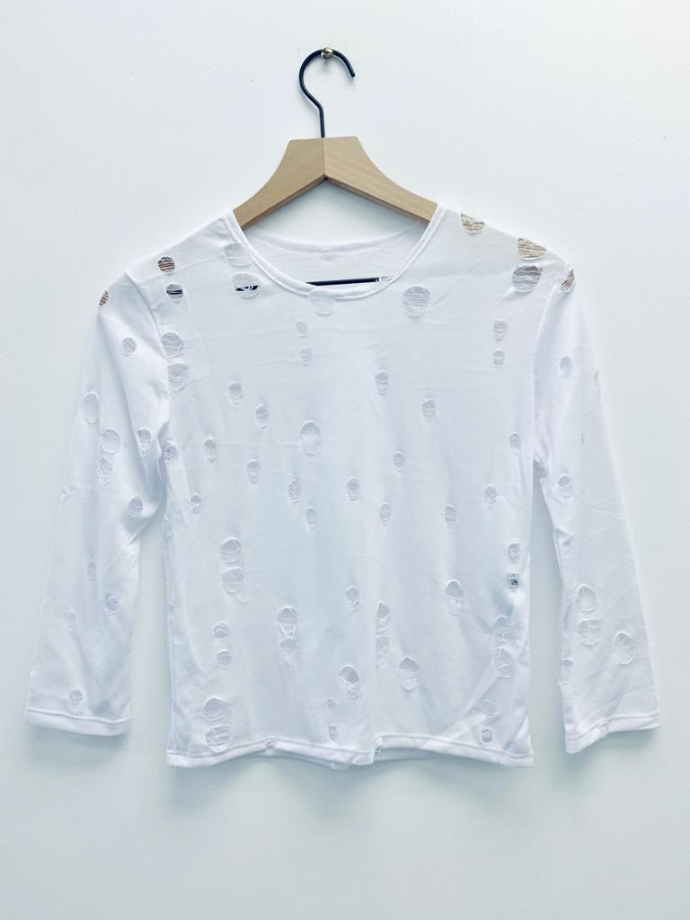 Long Sleeve Hole White-Fanilu