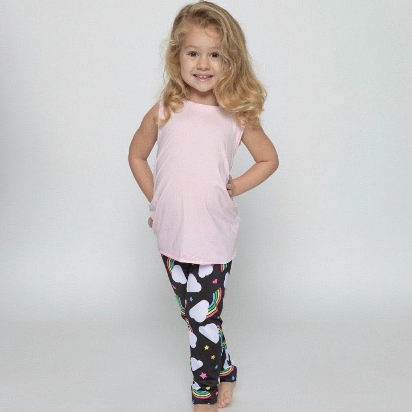 Clouds & Rainbow Leggings - Fanilu Activewear For Kids