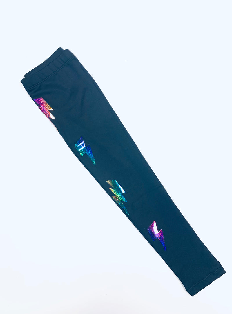Bolts Multicolor Black Leggings-Legging-Fanilu