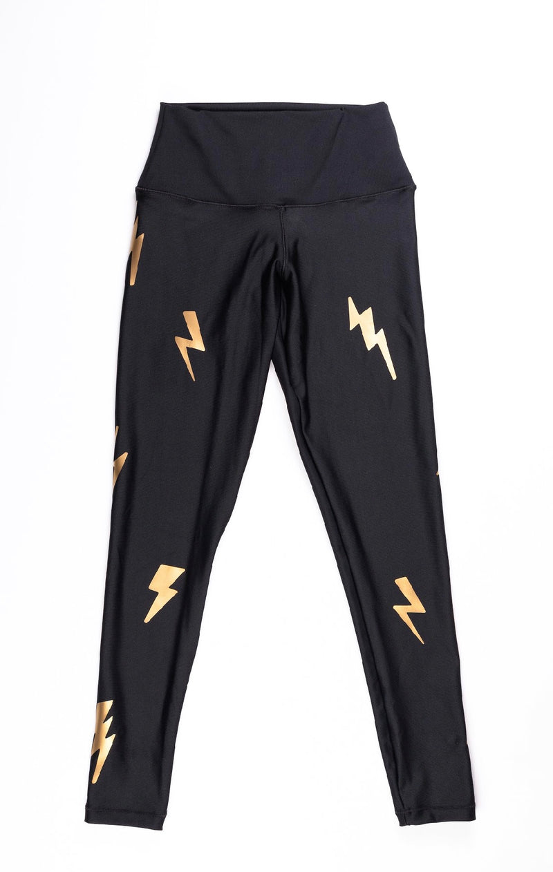 Bolts Gold Leggings - Fanilu Activewear For Kids