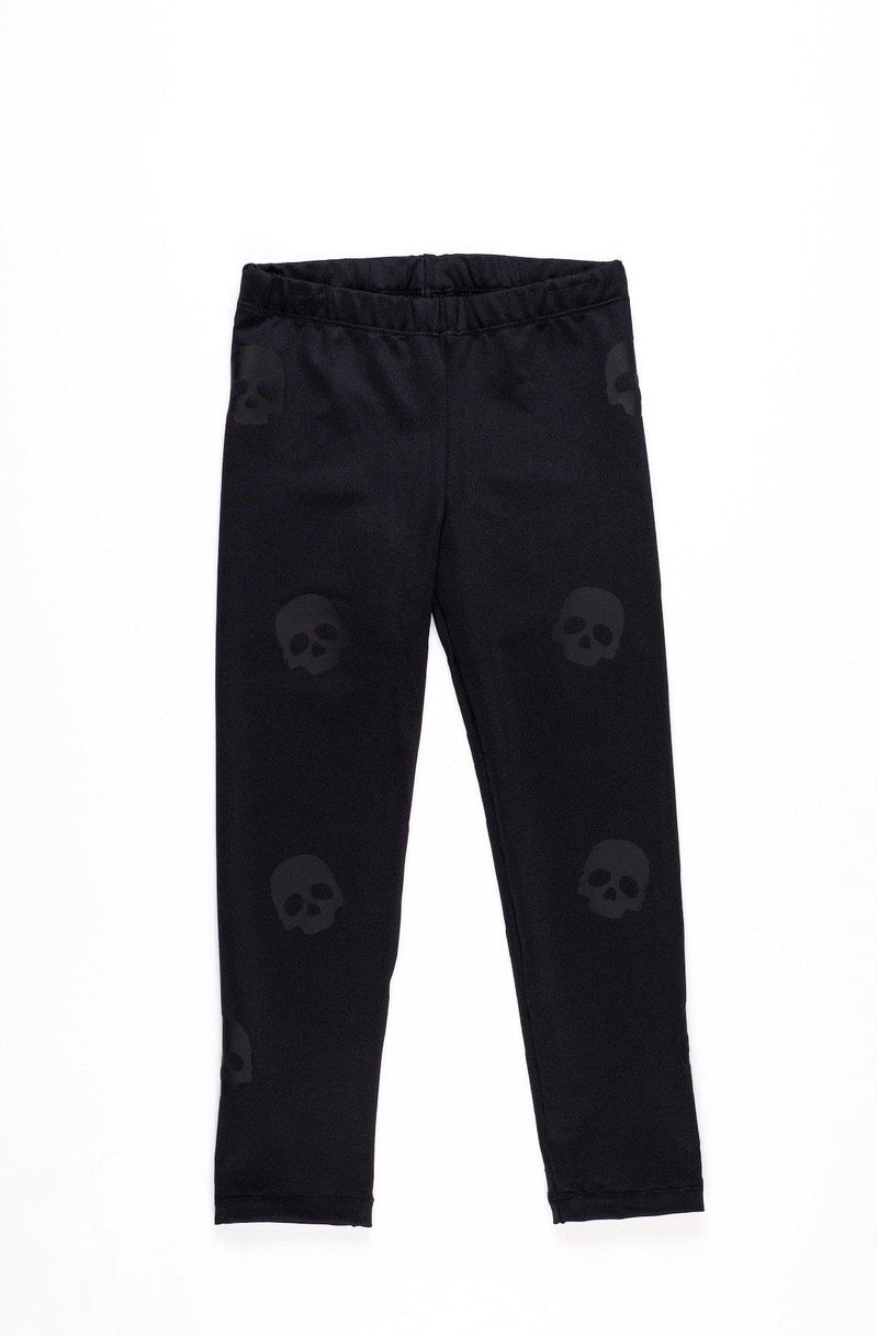 Skulls Black Leggings - Fanilu Activewear For Kids