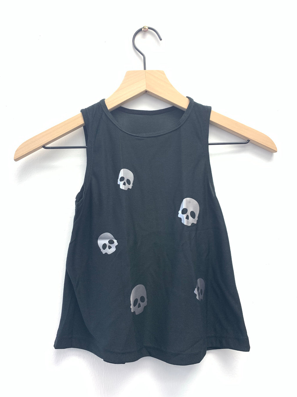 Skulls Silver Black Tank - Fanilu Activewear For Kids